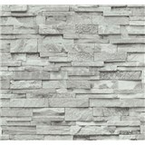 Vliesové tapety na zeď Origin - kámen pískovec bílo-šedý