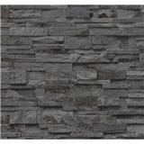 Vliesové tapety na zeď Origin - kámen pískovec tmavě šedo-hnědý