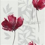 Vliesové tapety na zeď Origin - vlčí mák červený se stříbrnými listy na bílém podkladu