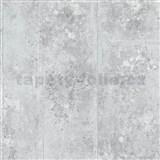 Vliesové tapety na zeď Origin - beton kovový vzhled bílo-stříbrný
