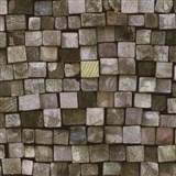 Vliesové tapety na zeď Origin - dřevěná mozaika barevná