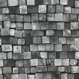 Vliesové tapety na zeď Origin - dřevěná mozaika šedo-černá