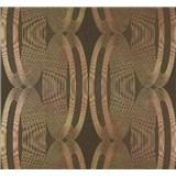 Vliesové tapety na zeď Ornamental Home - elipsy zlato-měděné