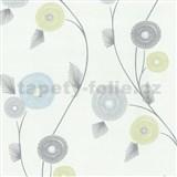 Vliesové tapety na zeď Patchwork - květy modro-zelené