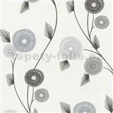 Vliesové tapety na zeď Patchwork - květy hnědo-šedé - SLEVA