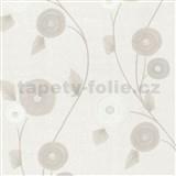 Vliesov� tapety na ze� Patchwork - kv�ty b�lo-hn�d� - SLEVA