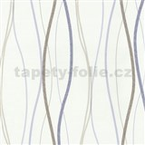Vliesové tapety na zeď Patchwork - vlnovky modro-hnědé - SLEVA