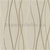 Vliesové tapety na zeď Patchwork - vlnovky okrovo-hnědé - SLEVA