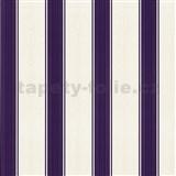 Tapety na zeď Poison bílo-fialové pruhy - SLEVA