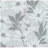 Vliesové tapety na zeď Polar květy s listy šedé - POSLEDNÍ KUS