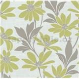 Vliesové tapety na zeď Polar květy s listy zelené - POSLEDNÍ KUSY