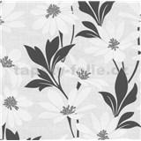 Vliesové tapety na zeď Polar květy s listy bílo-černé - POSLEDNÍ KUS