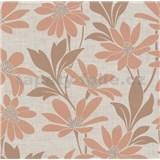 Vliesové tapety na zeď Polar květy s listy hnědo-béžové - POSLEDNÍ KUS
