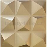 3D panel XPS pyramida zlatá rozměr 500 x 500 mm