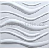 3D panel XPS vlnovky bílé rozměr 500 x 500 mm