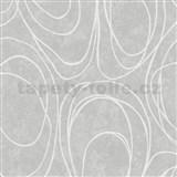 Vliesové tapety WohnSinn Primeur elipsy bílé na šedém podkladu