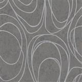 Vliesové tapety na zeď WohnSinn Primeur elipsy šedé na tmavě šedém podkladu
