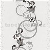 Vliesové tapety na zeď Pure and Easy květy šedé se stříbrným ornamentem