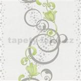 Vliesové tapety na zeď Pure and Easy květy zelené se stříbrným ornamentem