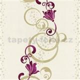 Vliesové tapety na zeď Pure and Easy květy růžové se zlatým ornamentem