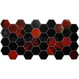 Obkladové 3D PVC panely rozměr 973 x 492 mm hexagon červeno-černý Induction