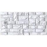 Obkladové 3D PVC panely rozměr 977 x 493 mm, tloušťka 0,4mm, břidlice bílo-šedá