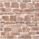 Papírové tapety na zeď kámen červeno-hnědý