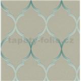 Vliesové tapety na zeď Collection 2 zámecký vzor zeleno-stříbrný na šedém podkladu