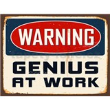 Retro cedule Warning Genius at Work 40 x 30cm - POSLEDNÍ KUSY