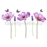 Samolepky na zeď květy fialové 95 cm x 142 cm