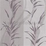 Vliesové tapety Sinfonia bambusové listy fialové na hnědo-šedém podkladu