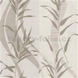 Vliesov� tapety Sinfonia - bambusov� listy hn�d� na kr�mov�m podkladu - SLEVA