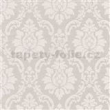 Vinylové tapety na zeď barokní vzor krémový na hnědém podkladu
