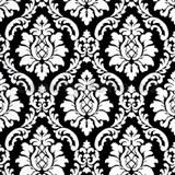 Vinylové tapety na zeď barokní vzor bílý na černém podkladu