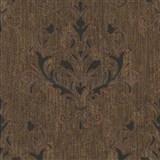 Luxusní vliesové tapety na zeď Spotlight 2 zámecký vzor hnědo-černý s měděnými odlesky