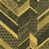 Vliesové tapety na zeď Spotlight drobné kašmírové vzory tvořené do pruhů zlato-černé
