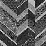 Vliesové tapety na zeď Spotlight drobné kašmírové vzory tvořené do pruhů černo-stříbrné