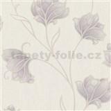 Vliesové tapety na zeď Spotlight květy fialové s béžovými konturami na krémovém podkladu