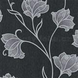 Vliesové tapety na zeď Spotlight květy stříbrné s šedými konturami na černém podkladu