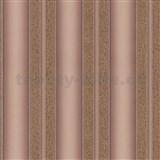 Luxusní vliesové tapety na zeď Spotlight 2 pruhy strukturované hnědo-zlaté