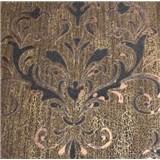 Luxusní vliesové tapety na zeď Spotlight II zámecký vzor hnědo-černý s měděnými odlesky s patinou