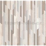 Vliesové tapety na zeď Spotlight 2 pásky hnědé/stříbrné/krémové