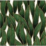 Vliesové tapety na zeď IMPOL Spotlight 3 popínavé listy zeleno-zlaté na krémovém podkladu