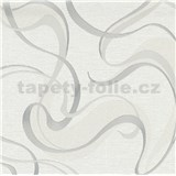 Vliesové tapety na zeď IMPOL Spotlight 3 moderní vlnovky stříbrné na bílém podkladu