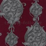 Vliesové tapety na zeď Studio Line - Opulent zámecké ornamenty stříbrno-červené se třpytem