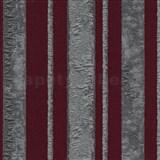 Vliesové tapety na zeď Studio Line - Opulent pruhy stříbrno-červené se třpytem
