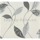 Vliesové tapety na zeď Suprofil Style - listy šedo-stříbrné na bílé podkladu