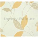 Vliesové tapety na zeď Suprofil Style - listy světle hnědo-oranžové na bílém podkladu