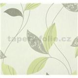 Vliesové tapety na zeď Suprofil Style - listy šedo-zelené na bílém podkladu