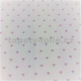Vliesové tapety na zeď Sweet & Cool růžová srdíčka na bílém podkladu